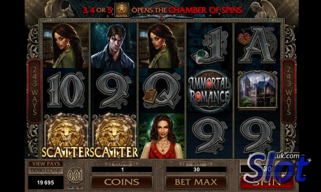 Immortal Romance Slot Game Reels