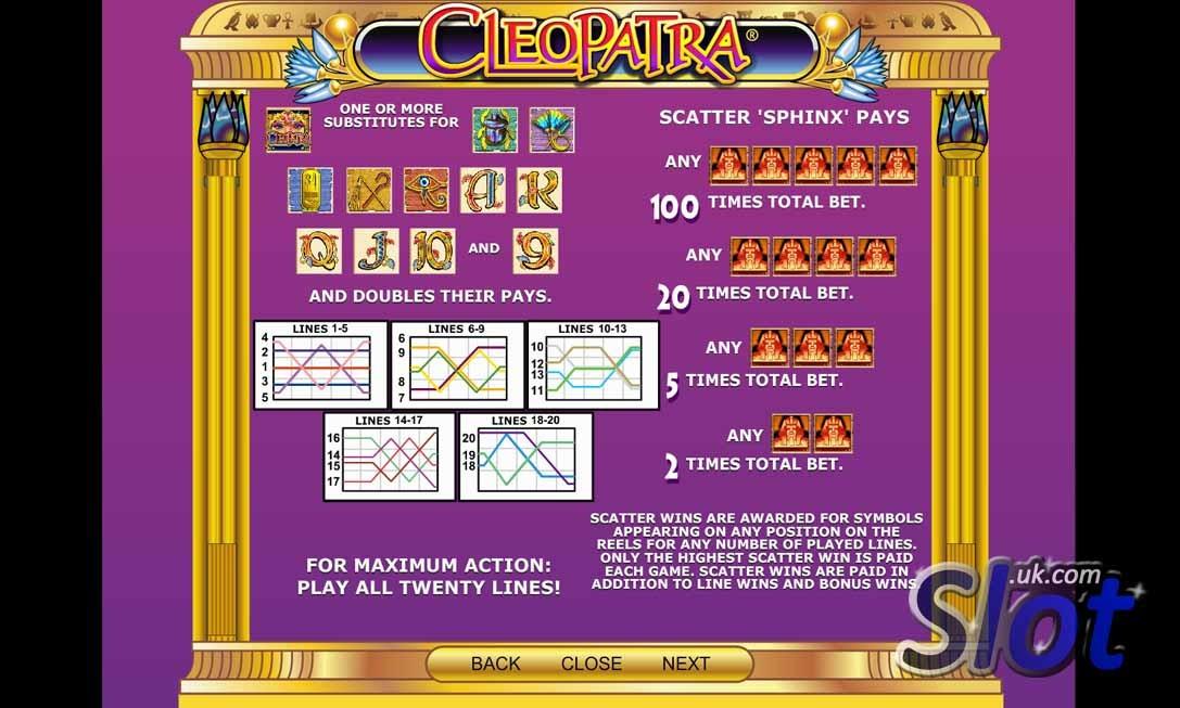 Cleopatra Slot Paytable
