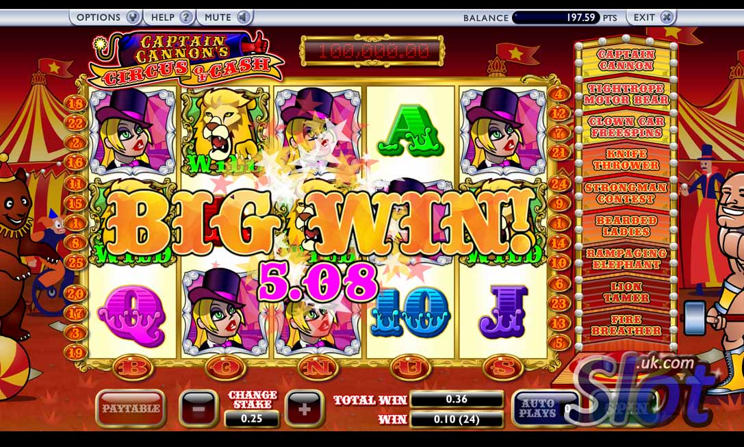 Play Captain Cannons Circus of Cash at Casino.com NZ