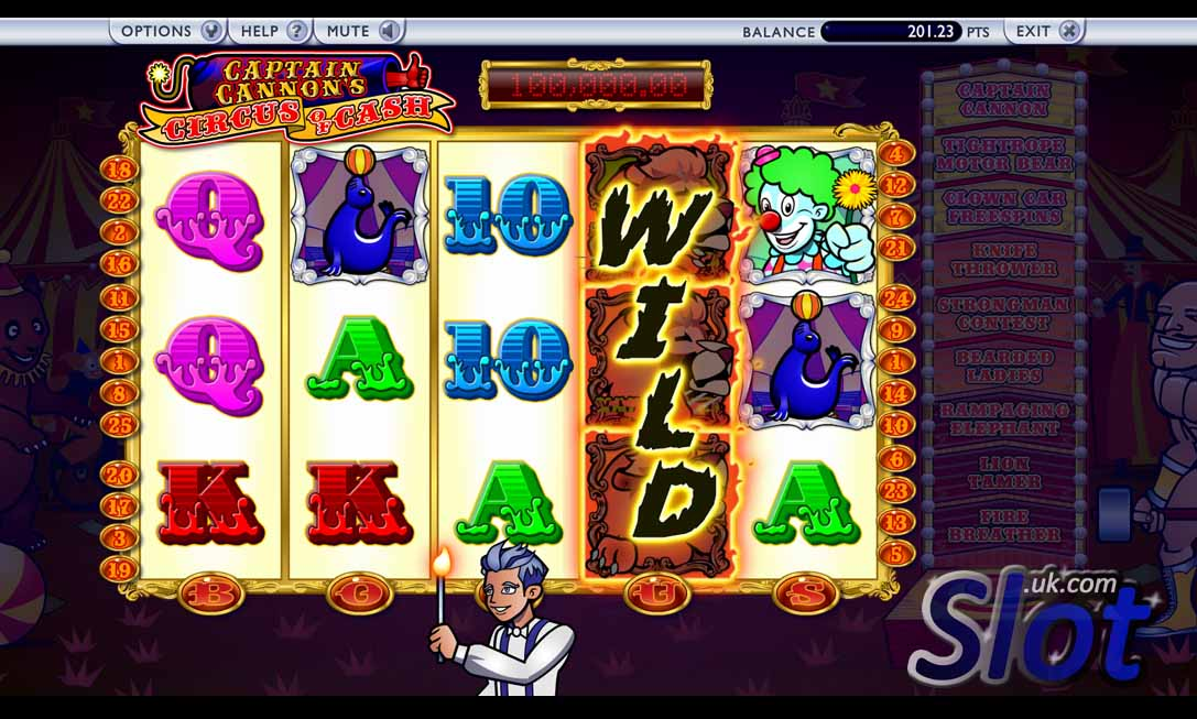 Captain Cannon's Circus of Cash Slot Game Reels