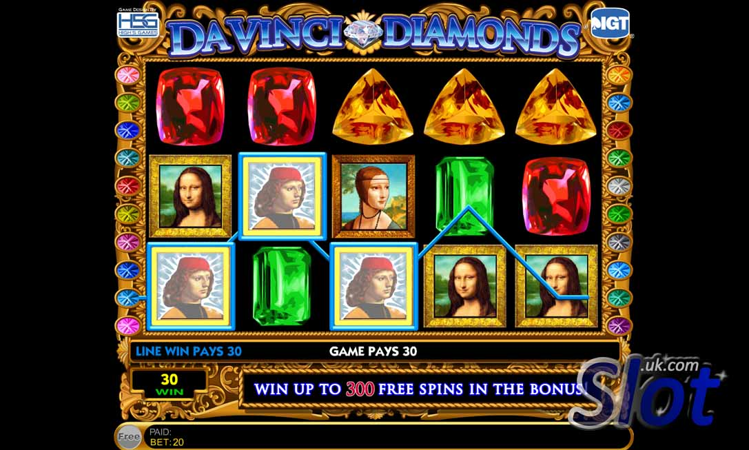 Da Vinci Diamonds Slot Game Reels