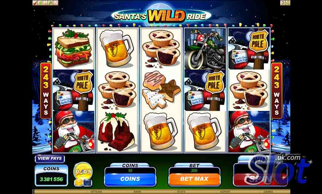 Santa's Wild Ride Slot Game Reels