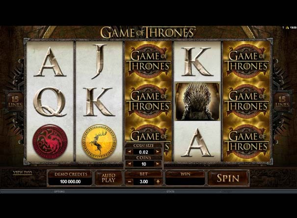 Game of Thrones Slot Game Reels