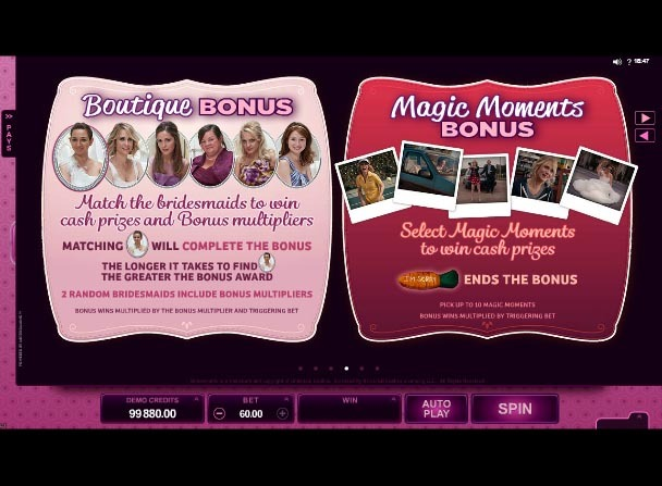 Bridesmaids Slot Game Paytable