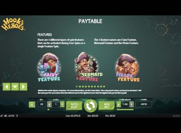 Hooks Heroes Paytable