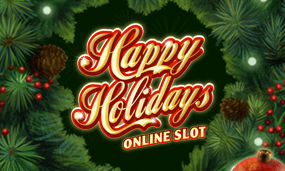 happy holidays slot logo
