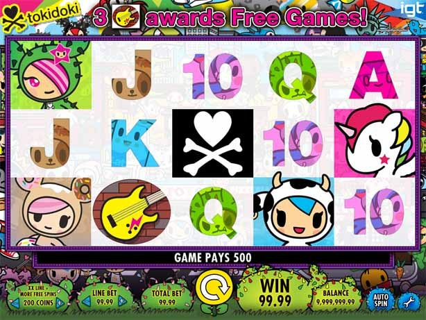 Tokidoki Lucky Town Slot Game Reels