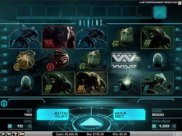 Aliens Slot Game Reels