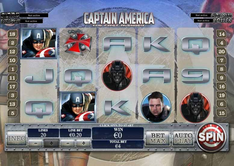 Captain America Slot Game Reels