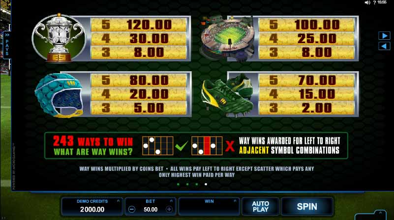 Rugby Star Paytable