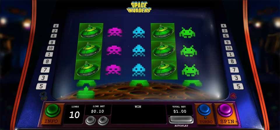 Space Invaders Slot Game Reels