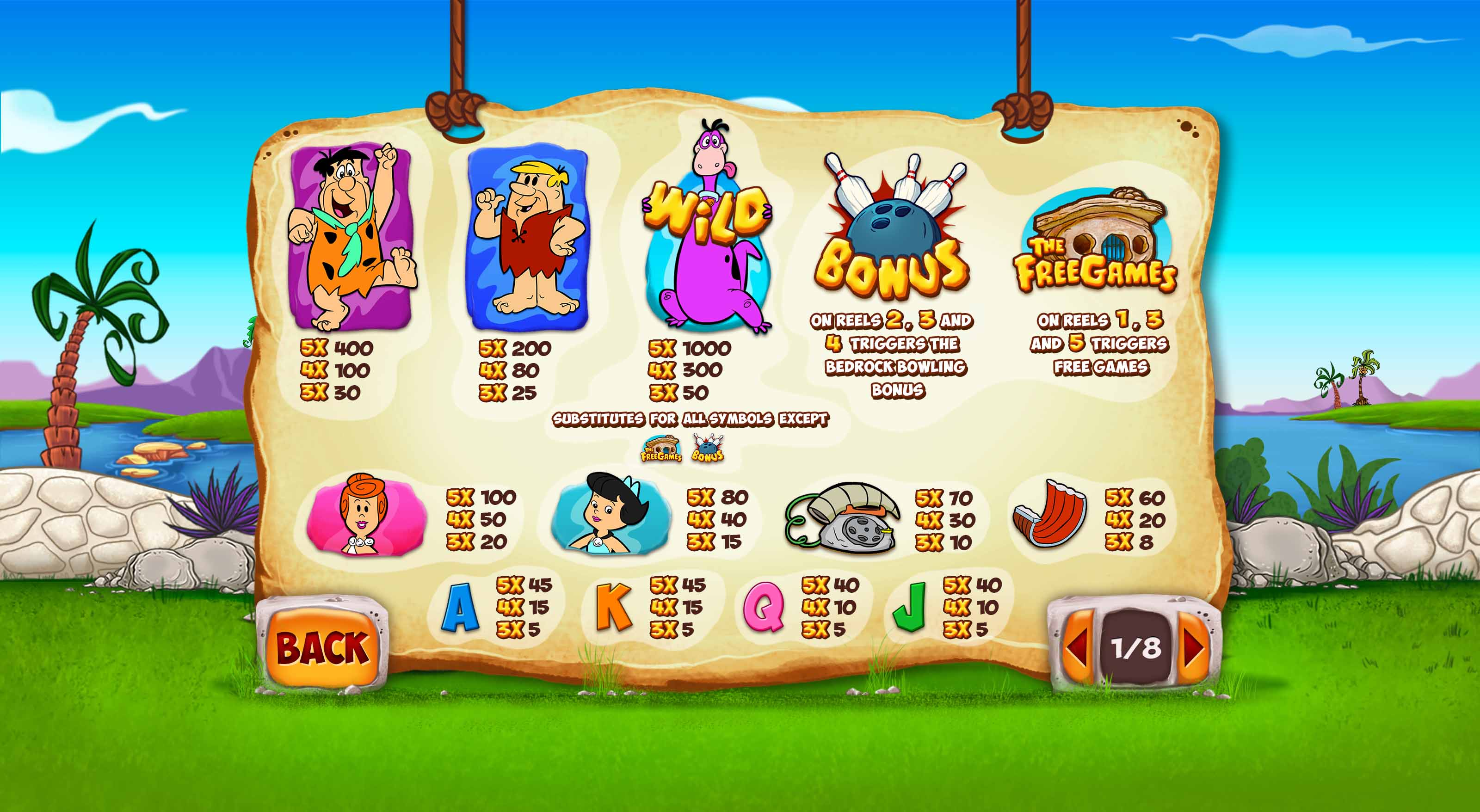 The Flintstones Slot Paytable