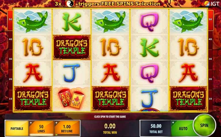 Dragon's Temple Slot Game Reels