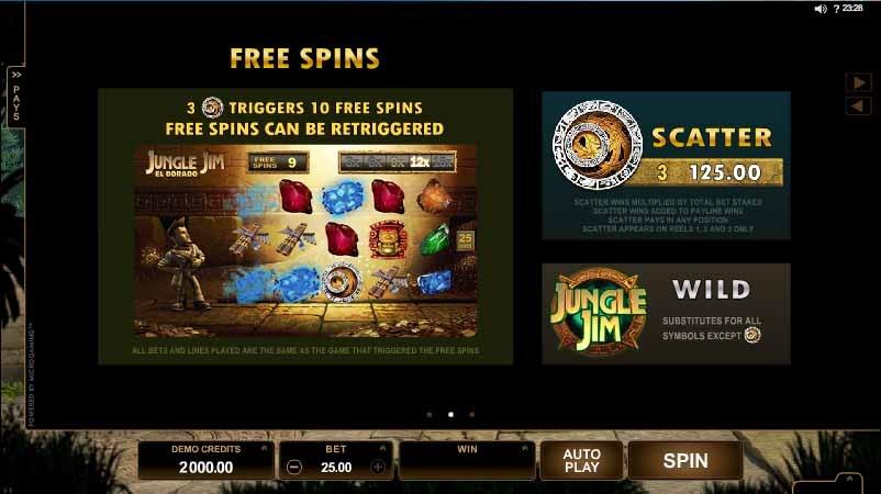 Jungle Jim El Dorado Slot Bonus