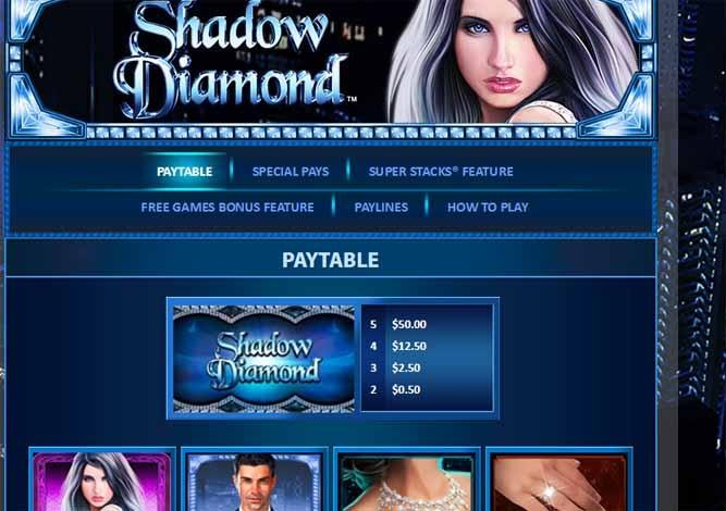Shadow Diamond Slot Paytable