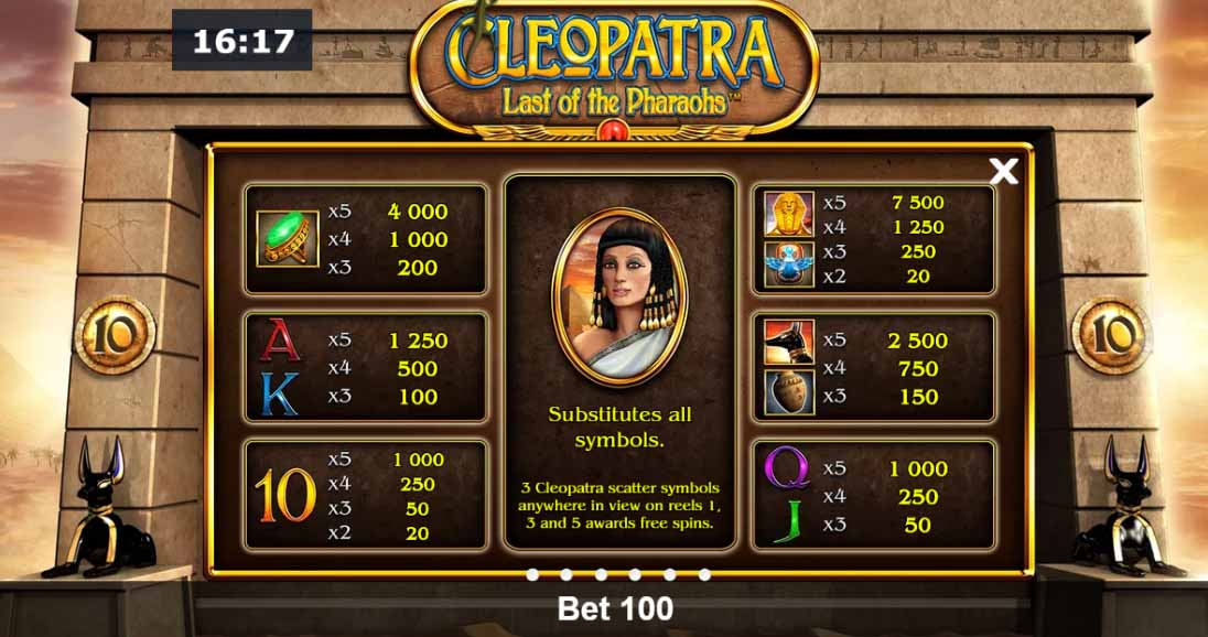 Cleopatra Last of the Pharaohs Slot Paytable