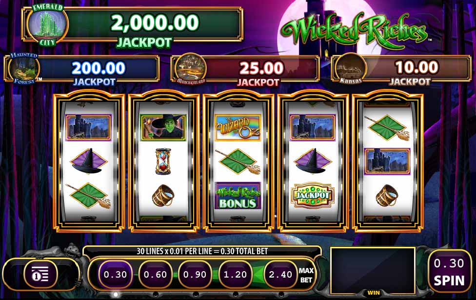 Wizard of Oz Wicked Riches Slot Game Reels