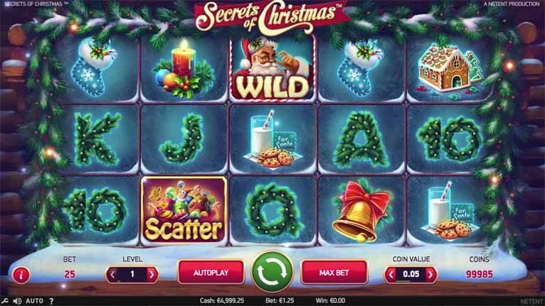 Secrets of Christmas Slot Game Reels