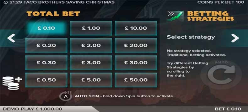 Taco Brothers Saving Christmas Slot Paytable