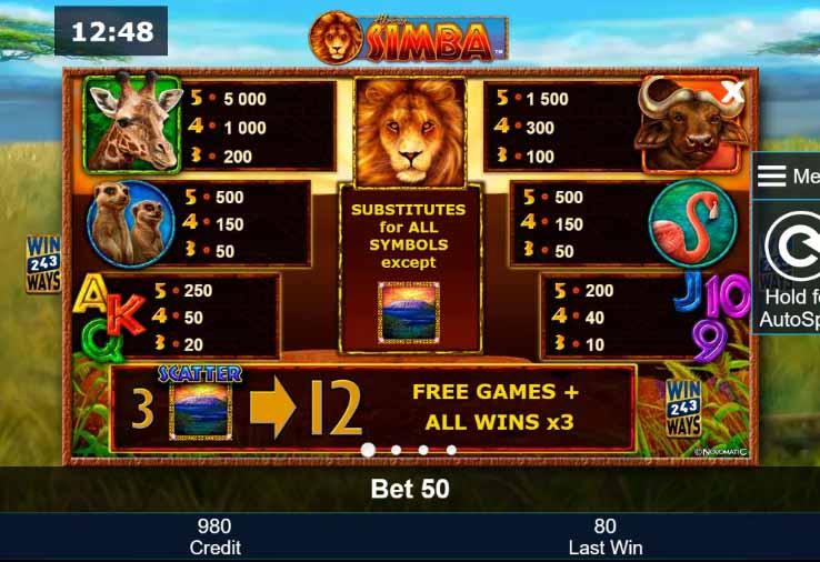 African Simba Slot Paytable