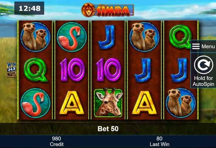 African Simba Slot Game Reels
