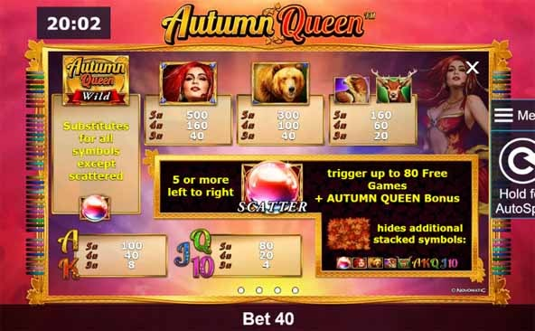 Autumn Queen Slot Paytable