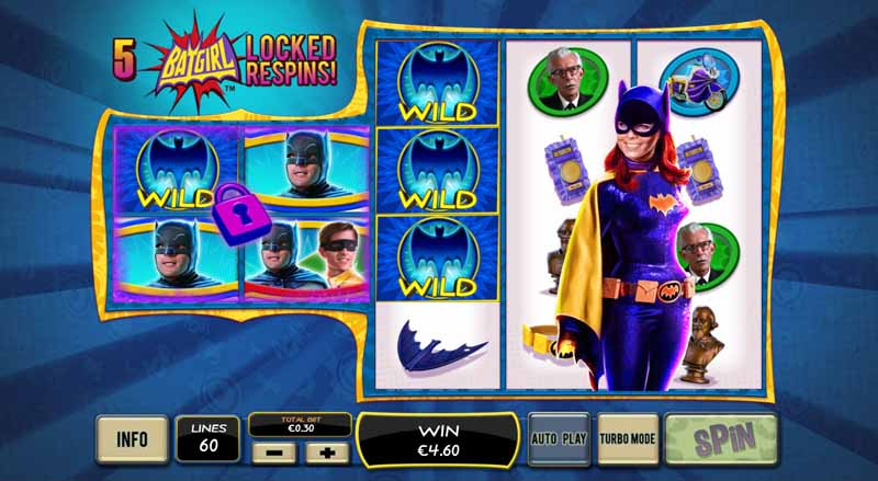 Batman and Mr Freeze Slot Game Reels