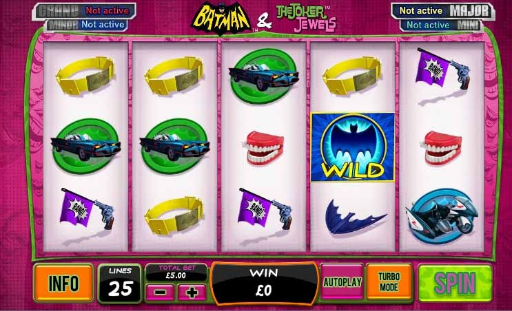 Batman and the Joker Jewels Slot Game Reels