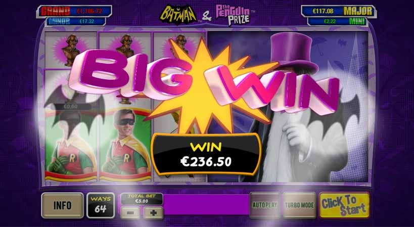 Batman and the Penguin Prize Slot Paytable
