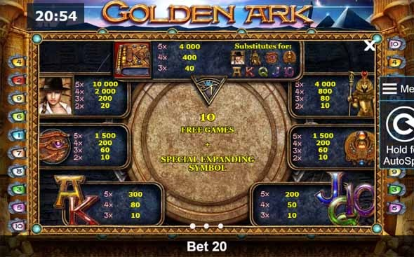Golden Ark Slot Paytable