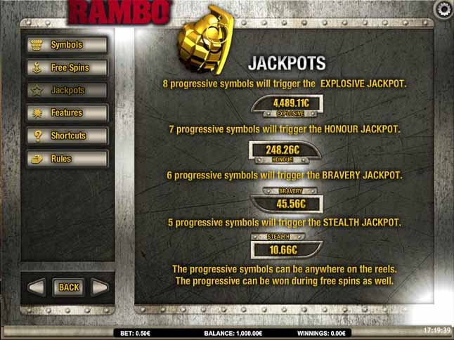 Rambo Slot Paytable