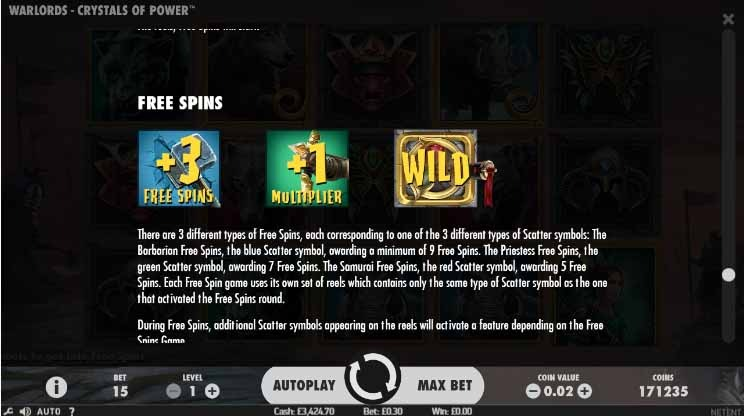 Warlords: Crystals of Power Slot Paytable