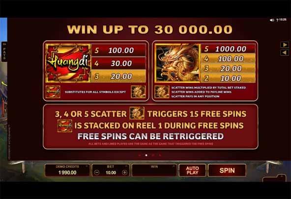 Huangdi The Yellow Emperor Slot Bonus