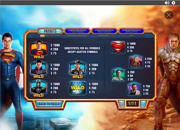 Man of Steel Slot Paytable