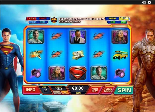 Man of Steel Slot Game Reels