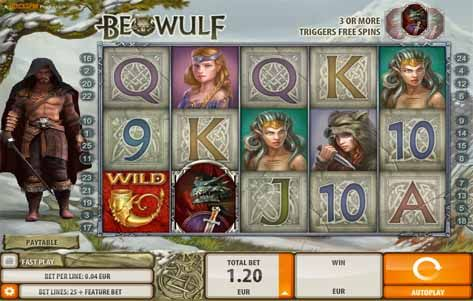 Beowulf Slot Game Reels
