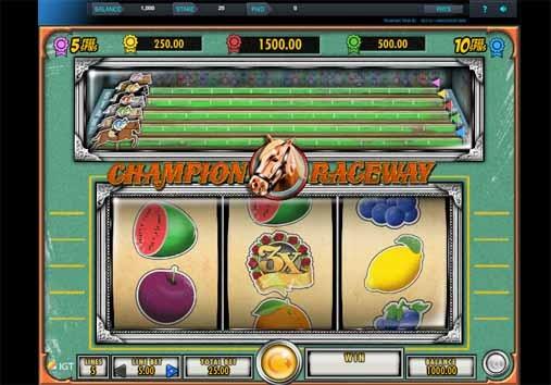 Champion Raceway Slot Game Reels