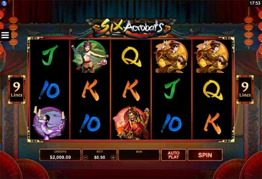 Six Acrobats Slot Game Reels