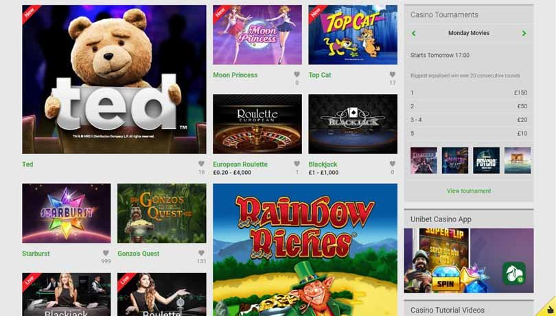 Unibet Casino Featured slot Games