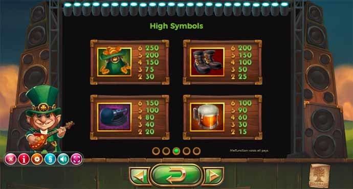 Rainbow Ryan Slot Game Paytable
