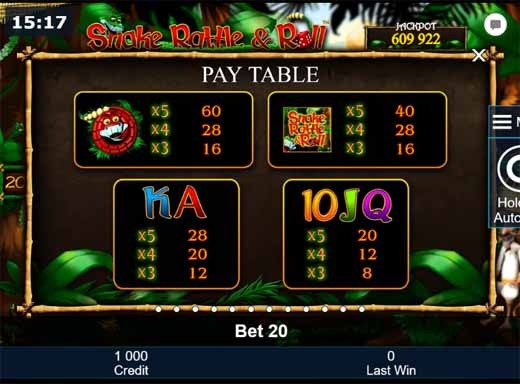 Snake Rattle & Roll Slot Paytable