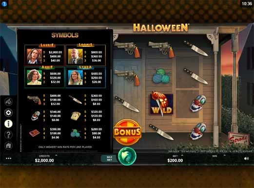 Halloween Slot Paytable
