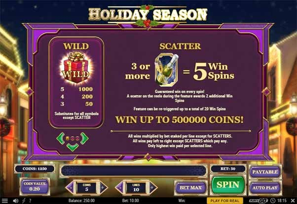 Holiday Season Slot Bonus