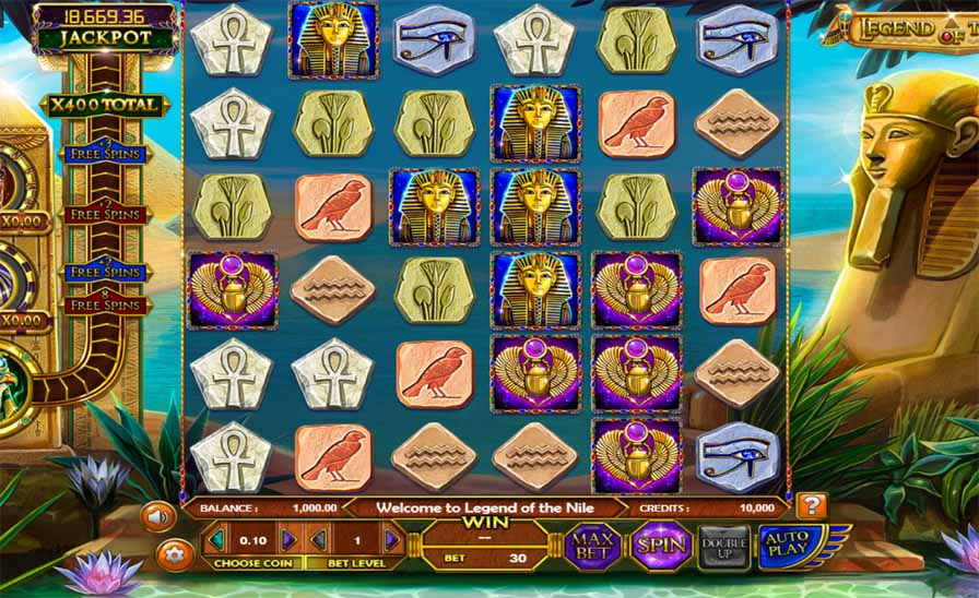 Legend of the Nile Slot Game Reels