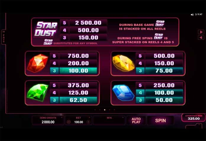 Stardust Slot Paytable