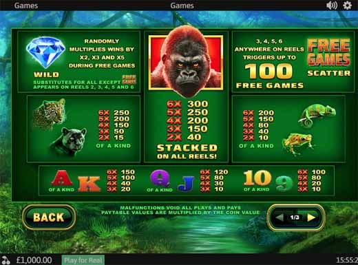 Epic Ape Slot Paytable