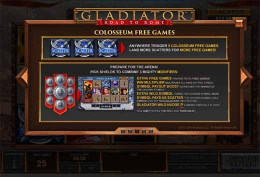 Gladiator Road to Rome Slot Bonus