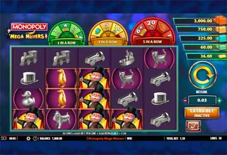 Monopoly Mega Movers Slot Game Reels