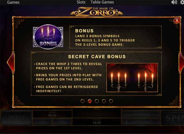 The Mask of Zorro Slot Bonus