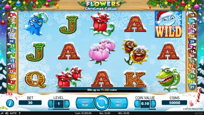 Flowers Christmas Edition Slot Game Reels